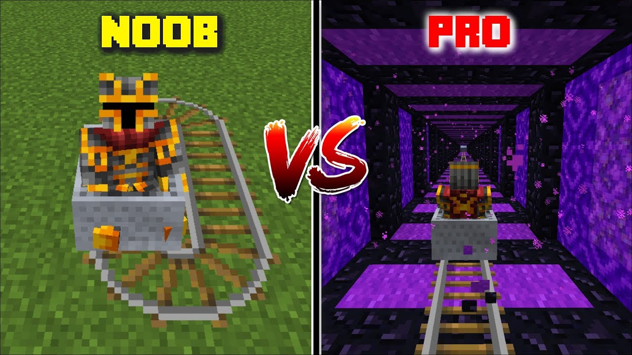 NOOB ROLLER COASTER VS PRO ROLLER COASTER / TRAVEL THROUGH THE ZOMBIE ROLLERCOASTER !! Minecraft