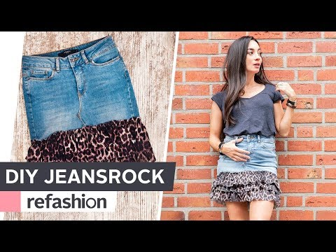 new arrivals 3a415 60f54 UPCYCLING: Jeansrock aufpimpen ~ refashion | OTTO - YouTube