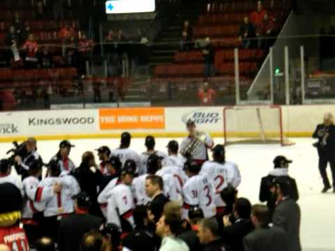 UNB V-Reds celebrating CIS Championship Win over Mcgill -- CIS 2011