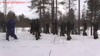 Russia Gongkwon Yusul. Training in the winter forest. Arkhangelsk, Russia