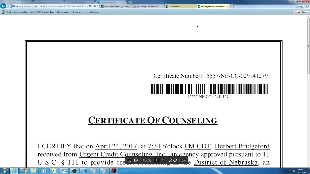 Credit Counseling Certificate - YouTube