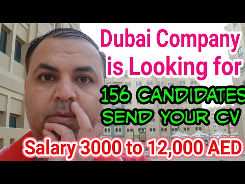 Dubai Based Company Needs 156 Candidates On Urgent Basis | Salaries 3000 to 12000 AED