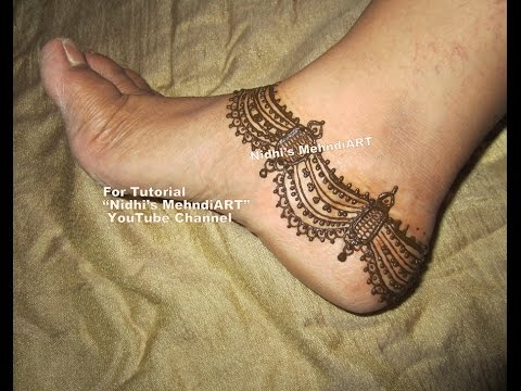 Mehndi Art Step By Step : Intricate anklet payal feet ornament inspired henna mehndi design