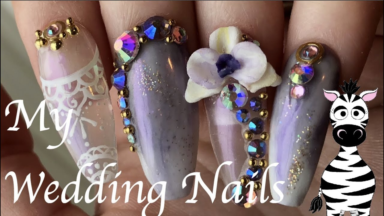 3D Orchids Lace And Marble Acrylic Nail Art Tutorial