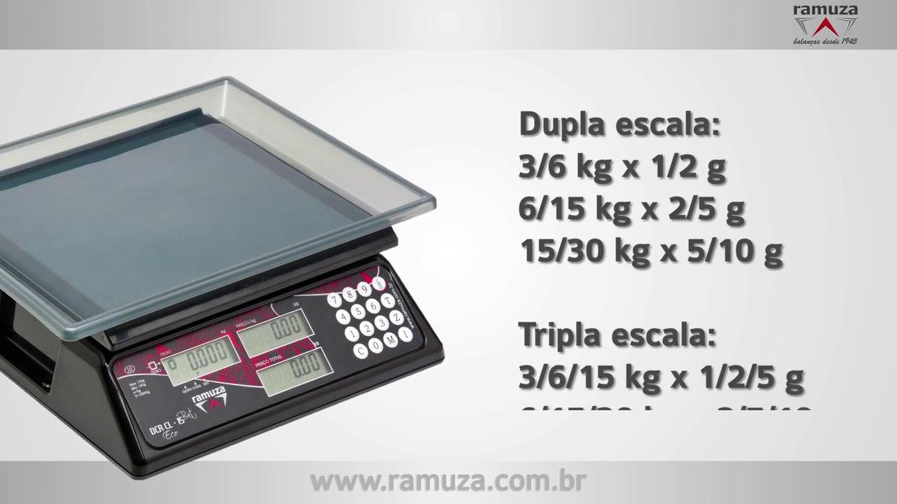 Balança Comercial Ramuza DCR 15kg 5G Preta Led Vermelho