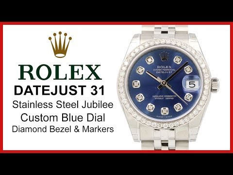 ▶ Rolex Datejust 31 Blue Dial, Custom Diamond Hour Markers & Bezel REVIEW - Steel Jubilee, 178240
