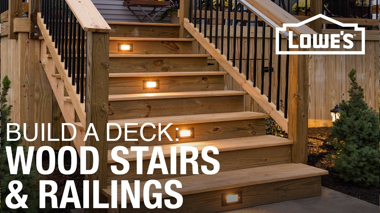 How To Build A Deck Wood Stairs Railings 4 Of 5 Youtube | Premade Wooden Steps For Porch | Cedar Tone | Deck Stairs | Fiberglass | Concrete Stairs | Manufactured Homes