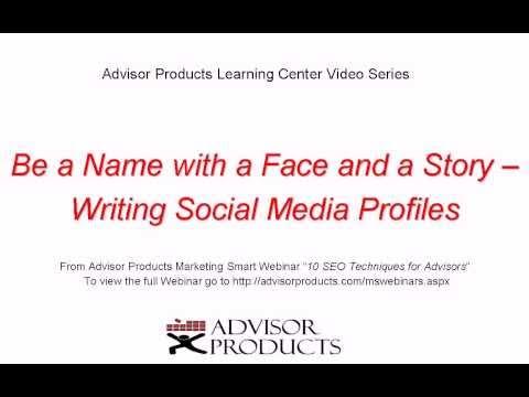 Writing Social Media Profiles for Financial Advisors