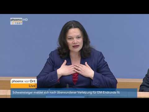 Integrationsgesetz: Thomas de Maizière und Andrea Nahles geben Pressekonferenz am 25.05.16