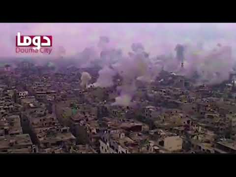 Video claiming to show bombardment last night in Ghouta in Syria