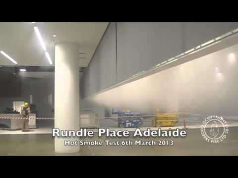 Hot Smoke Test - SmokeStop Smoke Curtain - Rundle Place Adelaide