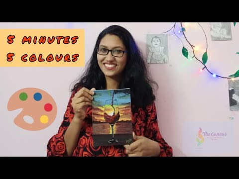 Easy acrylic painting tutorials for beginners | sunset painting | 5 minute video | CANVAS |