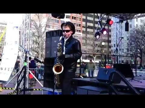 Tenor Saxophone Winter Performance at Copley Square in Boston  - 28 Degrees!