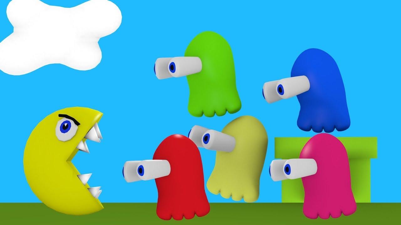 Learn Colors With - Aprenda cores com Pacman enquanto ele come fantasmas  Tube Kids disney totoy tv