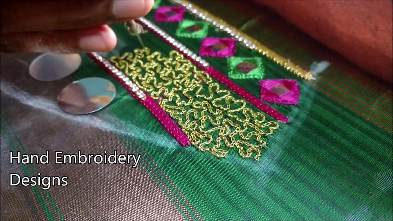 Aari work wedding blouse designs hand embroidery