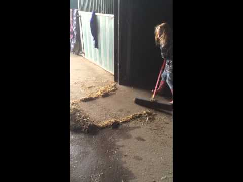 Faye 8 sweeping up easily with Herbie's Bulldozer broom