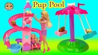 barbie doll slide spin pups puppy pool water play playset cookieswirlc video