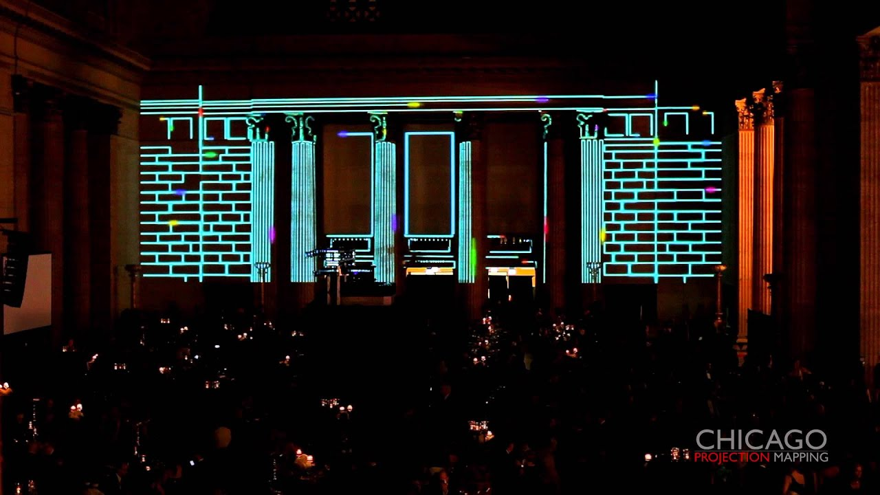 3D Projection Mapping  Laser Light Architectural Tracing