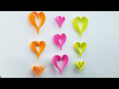 DIY Room Decoration Ideas with Paper Heart - Wall Hanging Craft Ideas