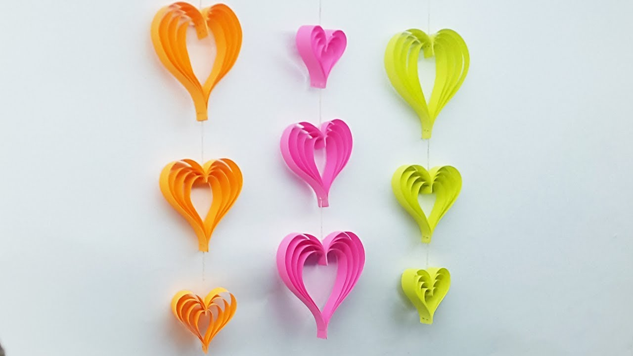 Diy Room Decoration Ideas With Paper Heart Wall Hanging Craft Ideas Youtube