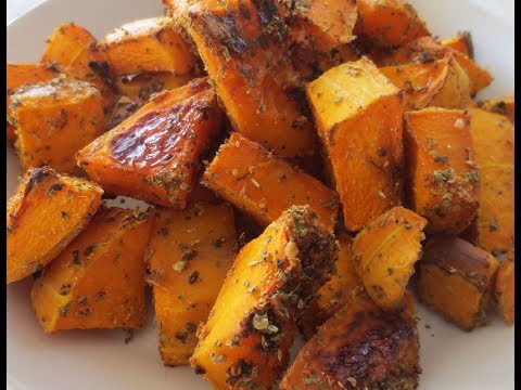 Low Fat Vegan No Oil Baked Butternut Squash with Spices EASY!