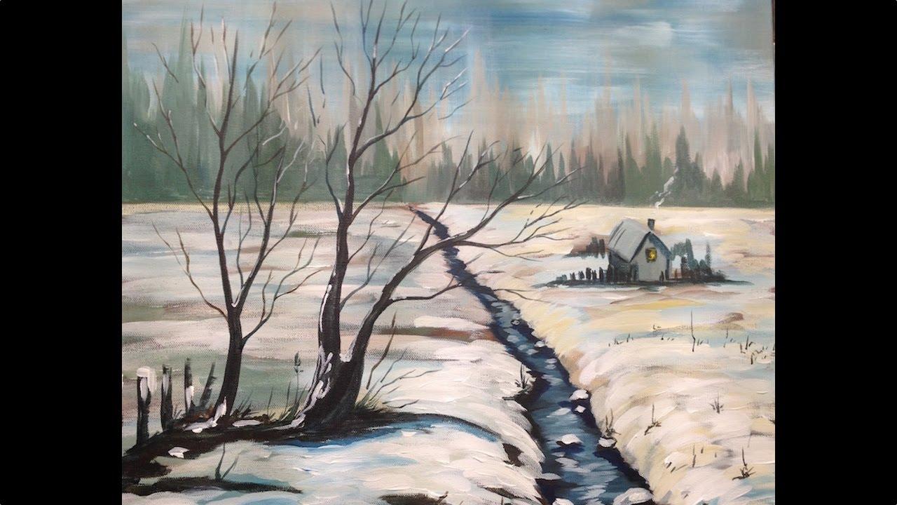 acrylic painting tutorial winter snow scene landscape big. Black Bedroom Furniture Sets. Home Design Ideas
