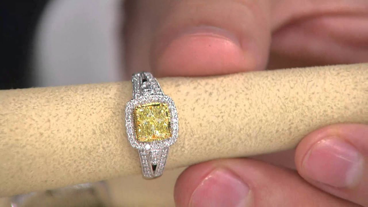 Cushion Cut Canary Yellow Diamond Ring, 14K, 1 Cttw By