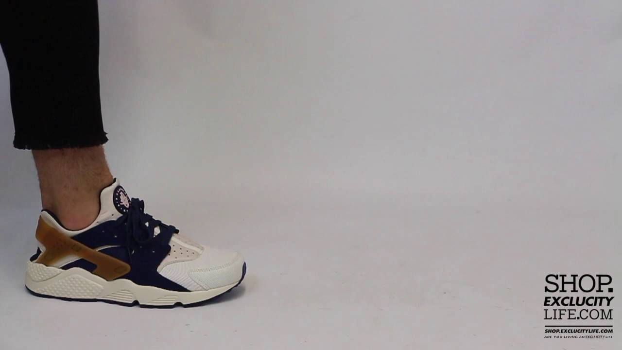 Nike Huarache Run Premium Midnight Navy Light Brown On feet Video at  Exclucity