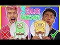 3 COLOR PANCAKE ART CHALLENGE! w/ Guava Juice