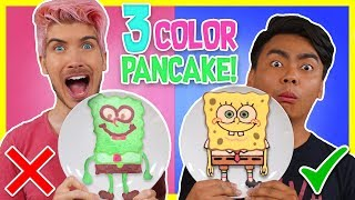 3 COLOR PANCAKE ART CHALLENGE! w/ Guava Juice