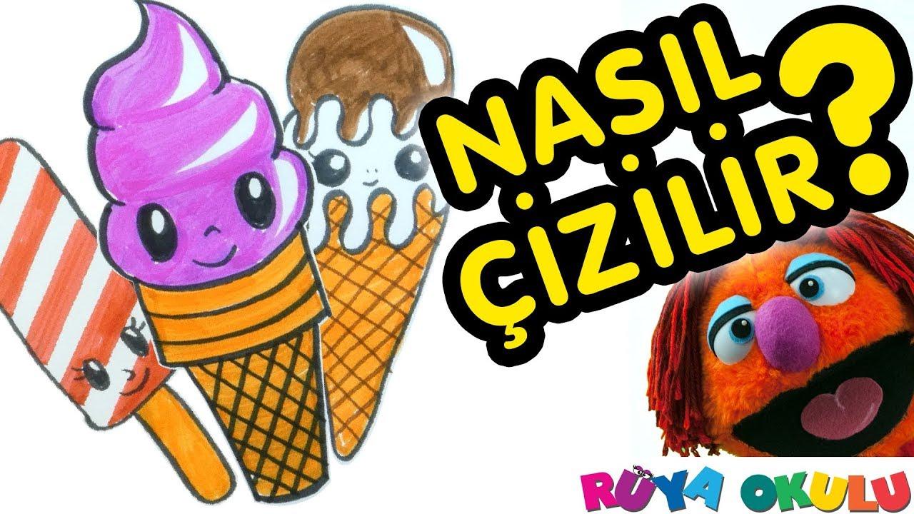 Dondurma Nasıl çizilir Külahta Dondurma çocuklar Için