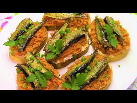 Таких вкусных бутербродов со шпротами и красной икрой Вы еще не пробовали! Красная икра из кускуса.