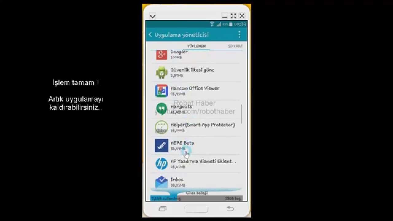 Android'de Kaldırılamayan Uygulamaları Silme