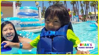 Ryan Rides Fun Water Slides at Family Theme Water Parks!!!