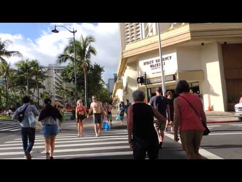 Walking up Kalakaua Avenue in Waikiki