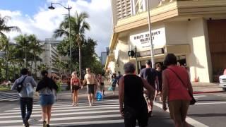 Walking up Kalakaua Avenue in Waikiki
