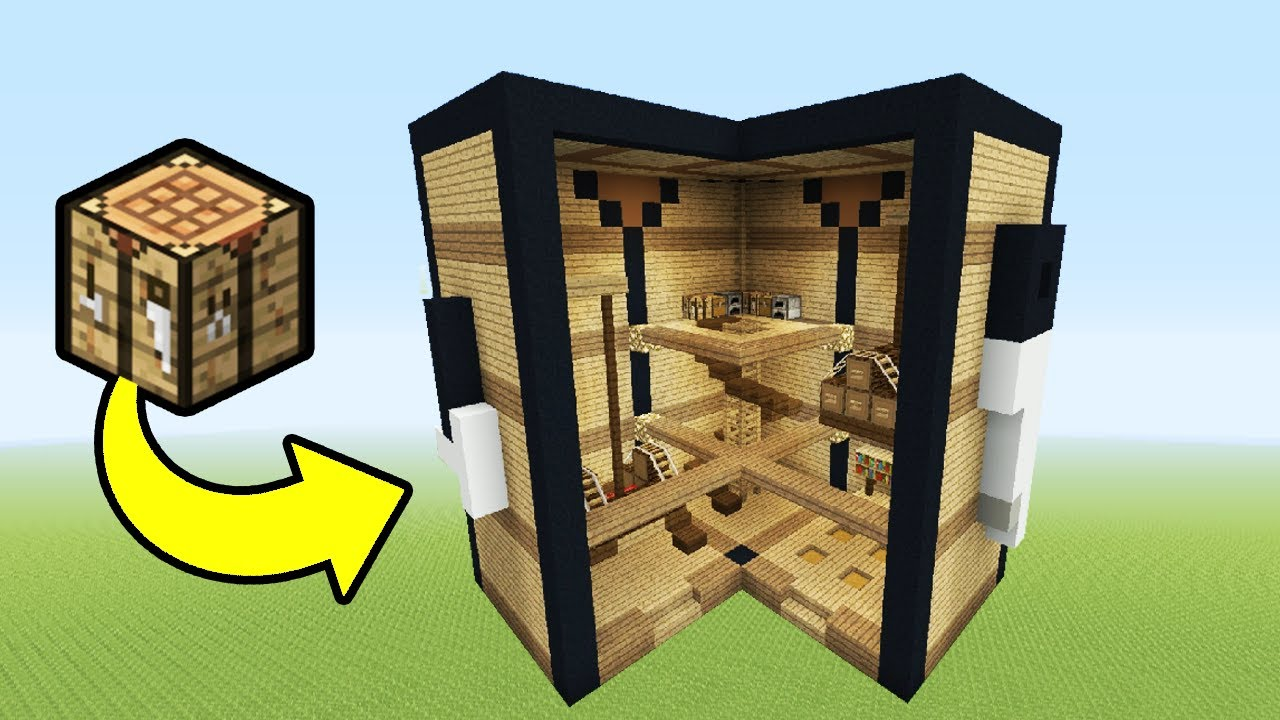 Minecraft tutorial how to make a crafting table house for Make a craft table