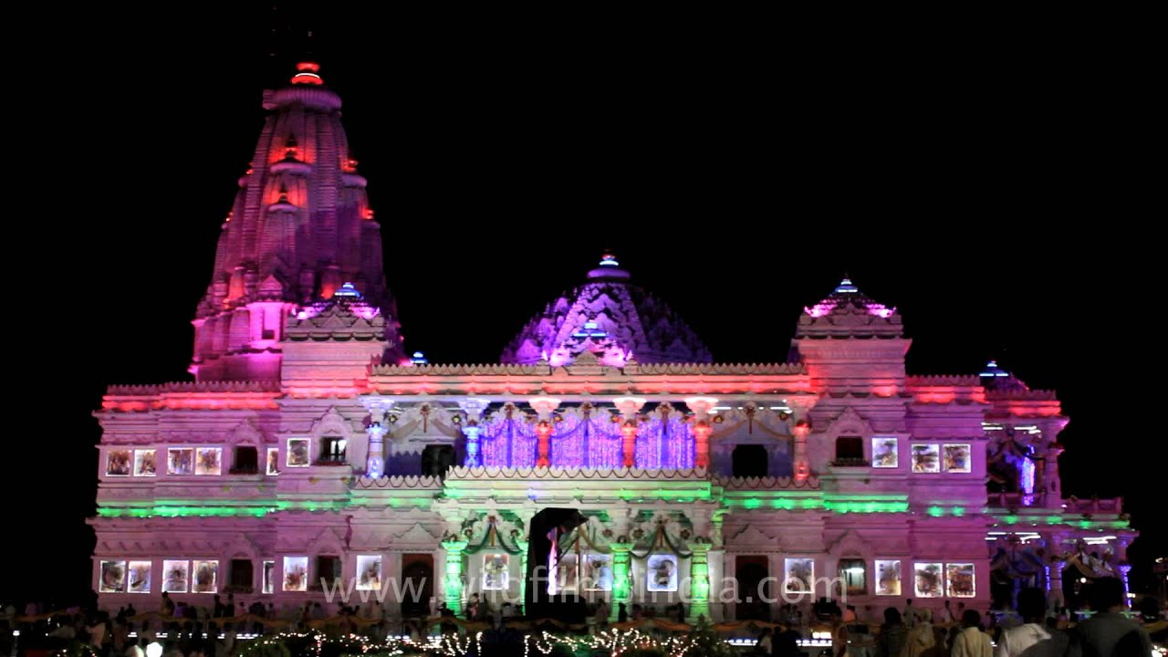 Breathtaking Exterior Of Prem Mandir In Vrindavan On Krishna