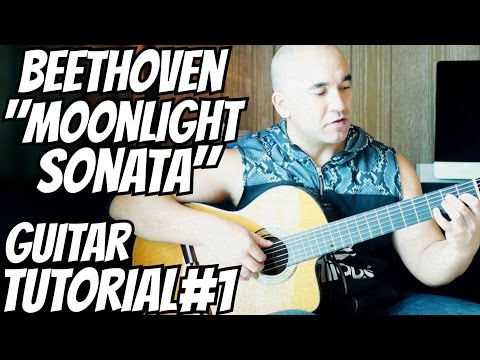 "Guitar Lesson ""Moonlight Sonata"" Beethoven - Classical Guitar Tutorial#1 Note-By-Note+Free Tabs"