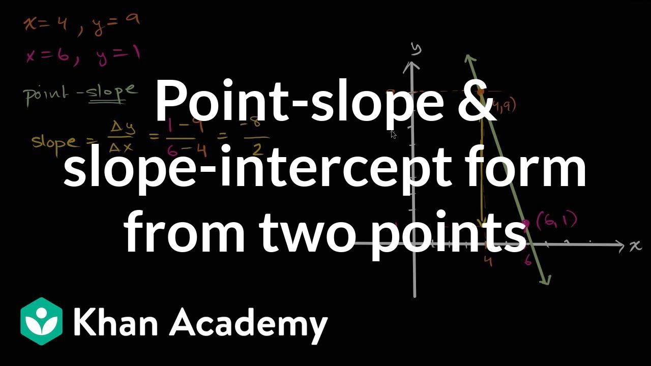 slope intercept form 2 points calculator  Point-slope & slope-intercept equations | Algebra (video ...