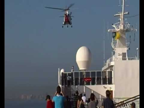 MSC Sinfonia Harbour Pilot Being Droped Off by Helicopter Durban