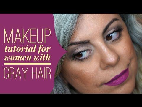 natural gray hair makeup tutorial