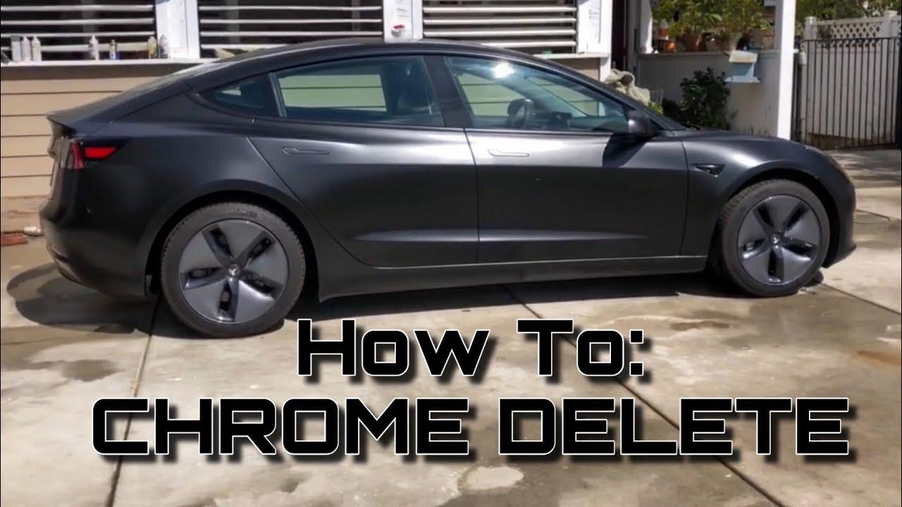 BLACK ON BLACK How To Chrome Delete Your Trim | Tesla ...