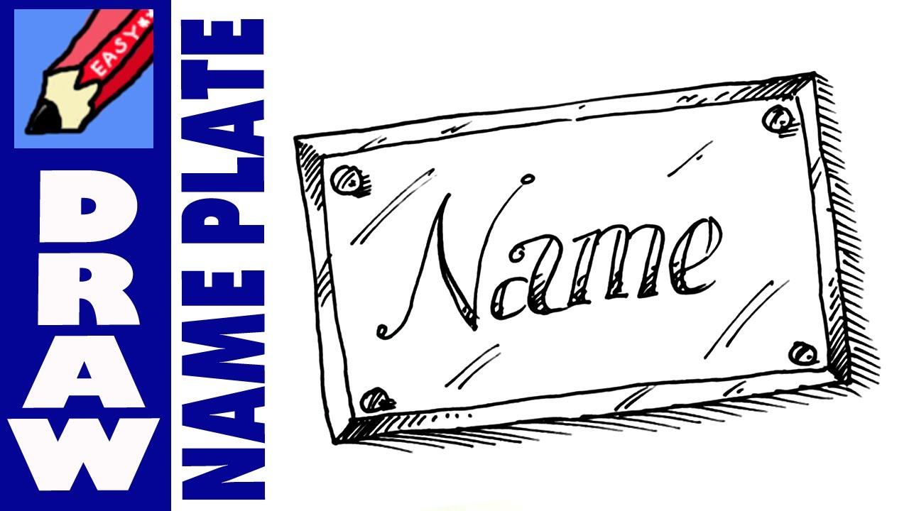 How to draw a name plate real easy youtube for How to doodle names