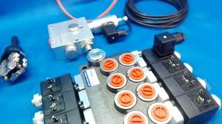Monoblock hydraulic valve Valve 4-way electric 50 l / min + 2 joysticks + proportional video