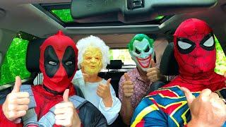 Superheroes Dancing in Car