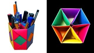 How to Make a beautiful Pen / Pencil Container or stand with 6 Storage box - HD