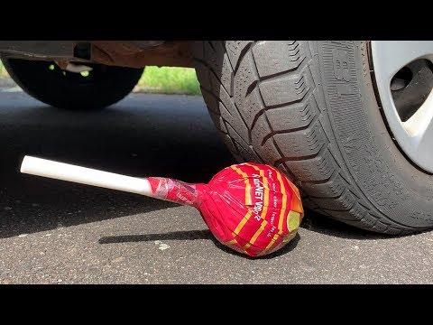 Crushing Crunchy & Soft Things by Car! - EXPERIMENT: BIG CHUPA CHUPS VS CAR