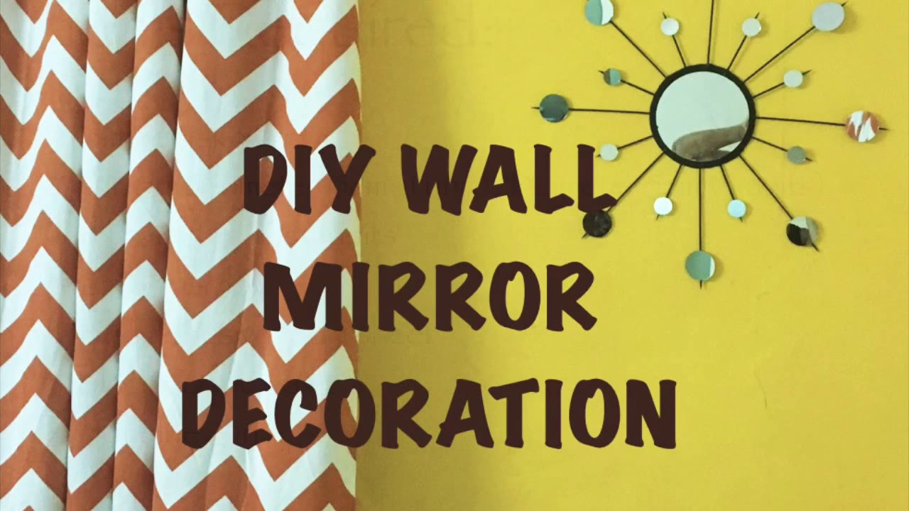 DIY Wall Mirror Decoration| Bamboo Skewers & Mirror Art - YouTube