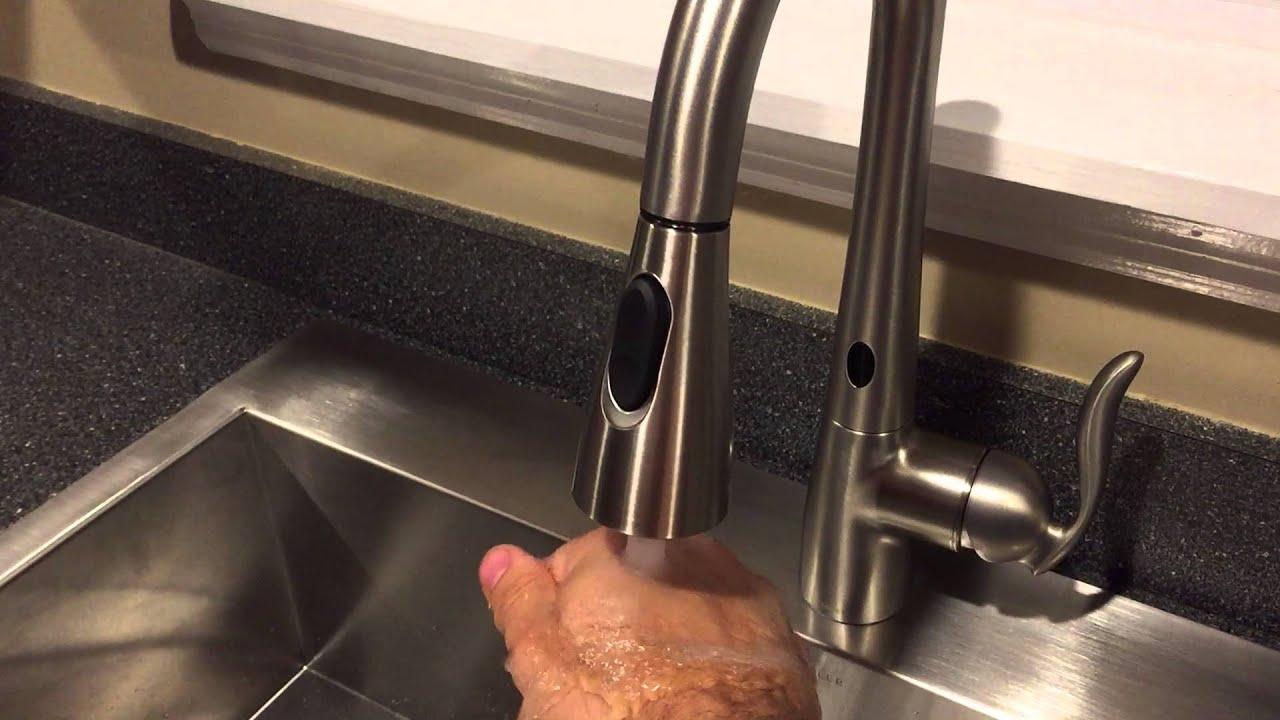Moen 7594ESRS Arbor Motionsense Faucet - YouTube
